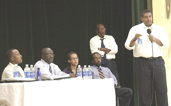 Gov. deJongh answers a citizen's question at a town hall meeting held Wednesday night.