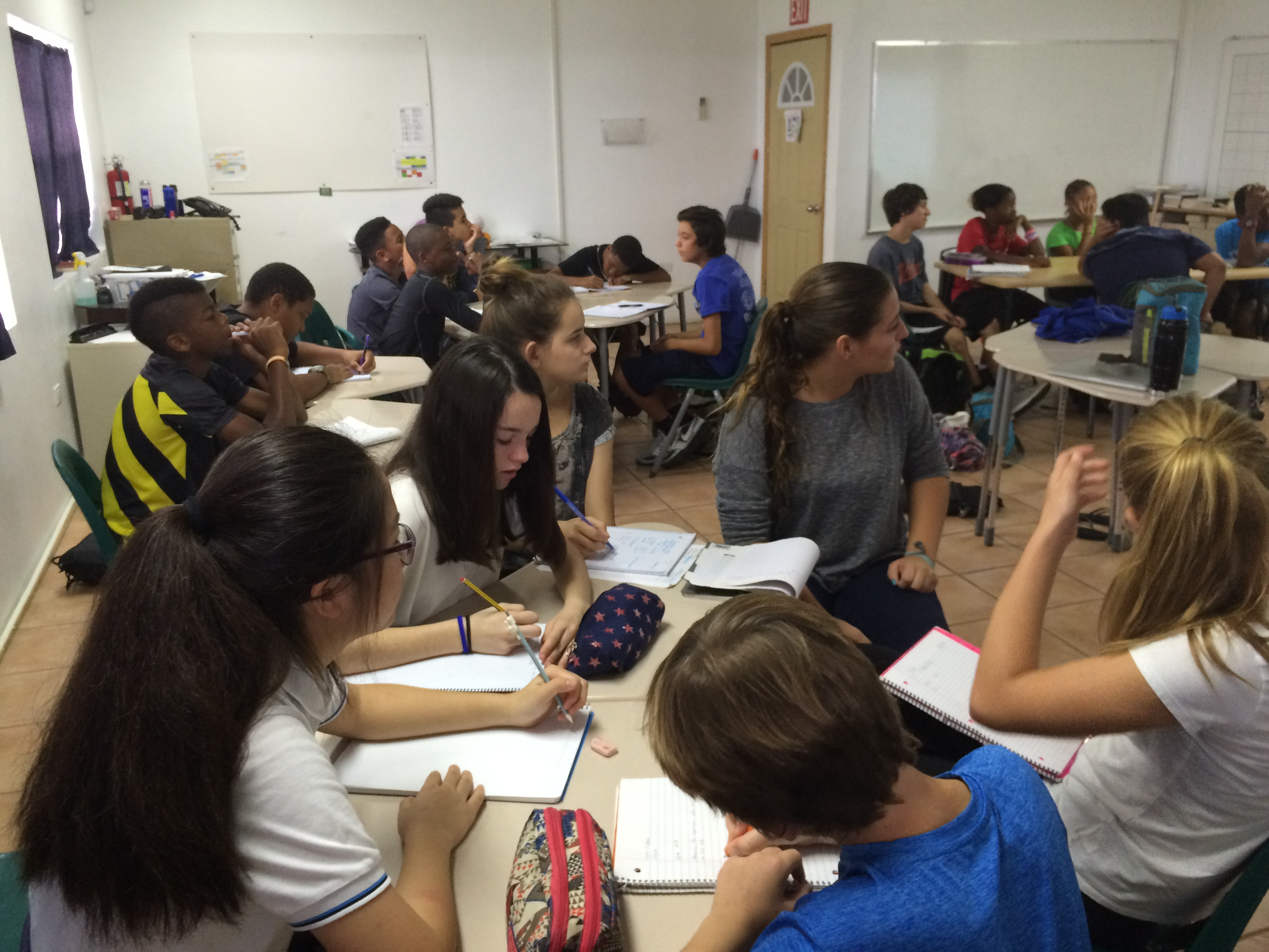 Madrid students in class with Peter Gruber International Academy 8th graders on St. Thomas