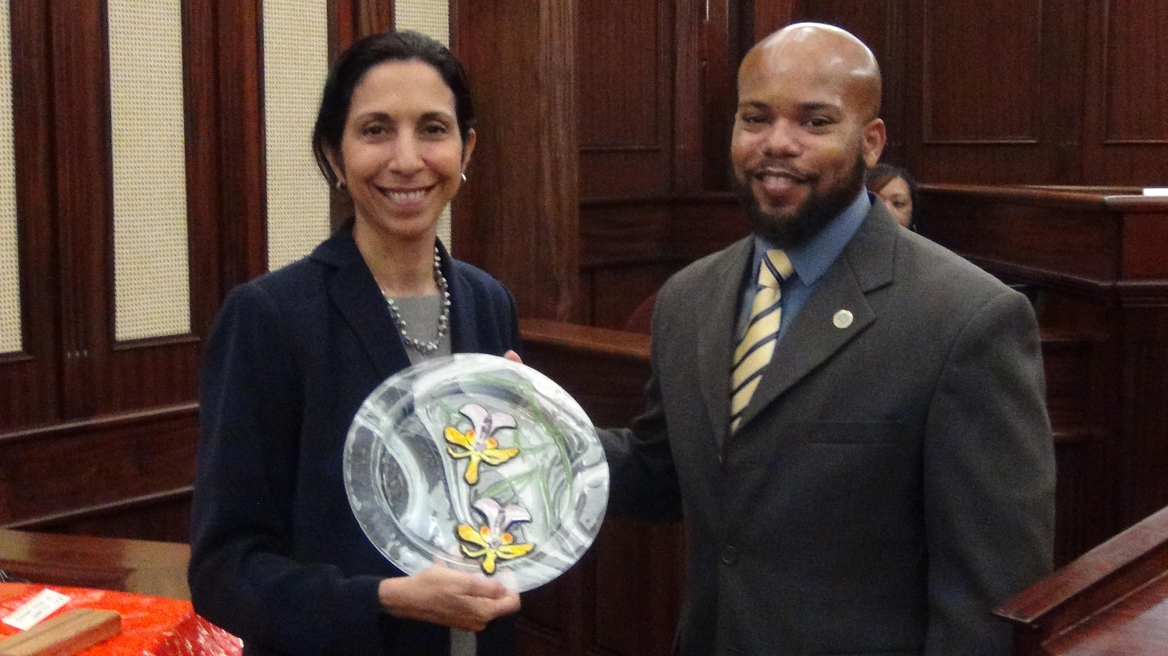 Former Territorial Court judge Soraya Diase Coffelt and V.I. Bar Association president Earnest Morris Jr.