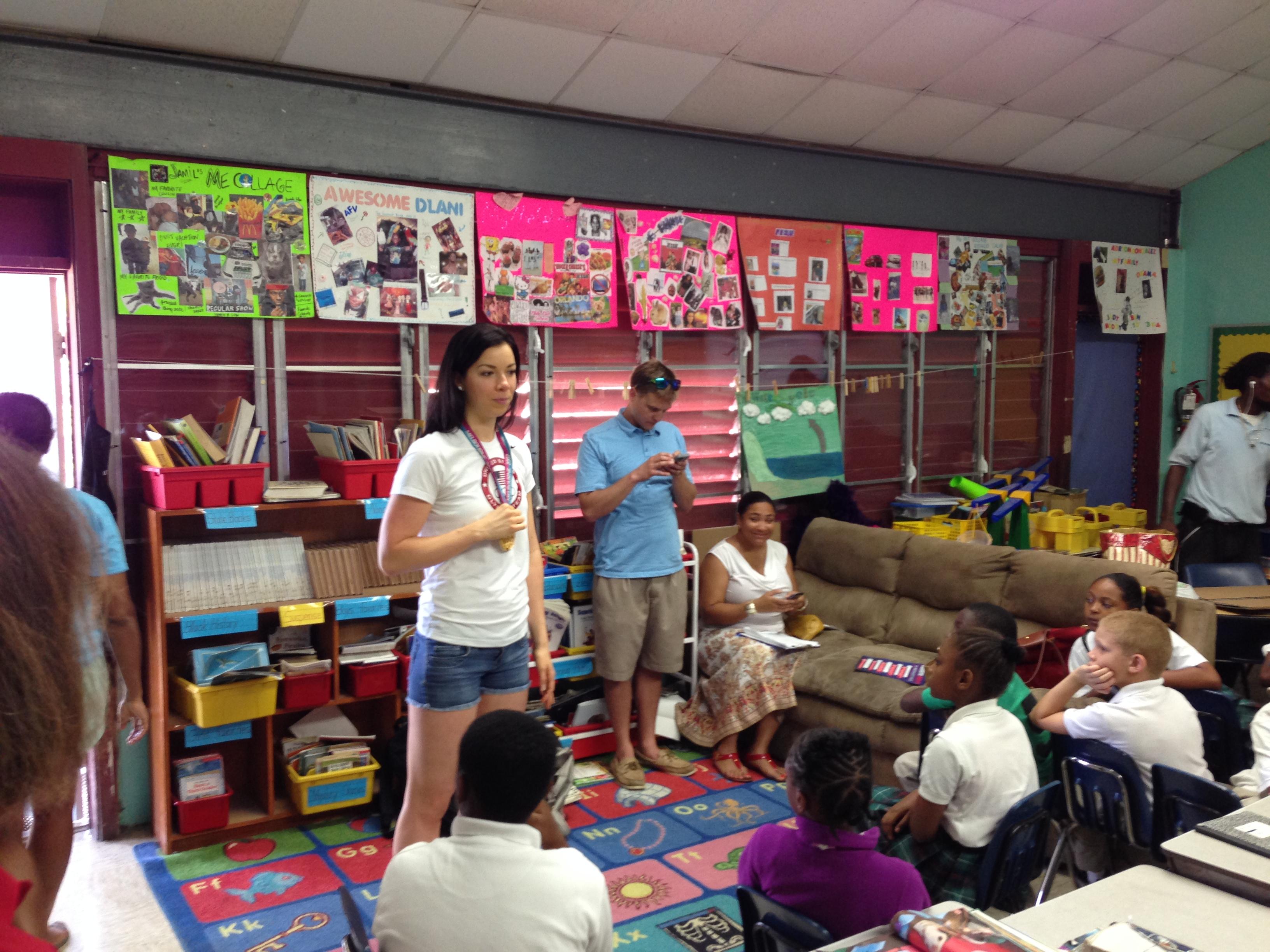 U.S. Olympian Kate Zeigler addresses school children
