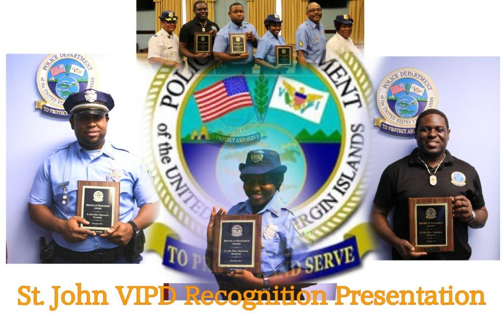 VIPD Quarterly Recognition Presentation acknowledged Officer Thompson Alexander, Officer Mitsy Prescod and Officer Josiah Angol