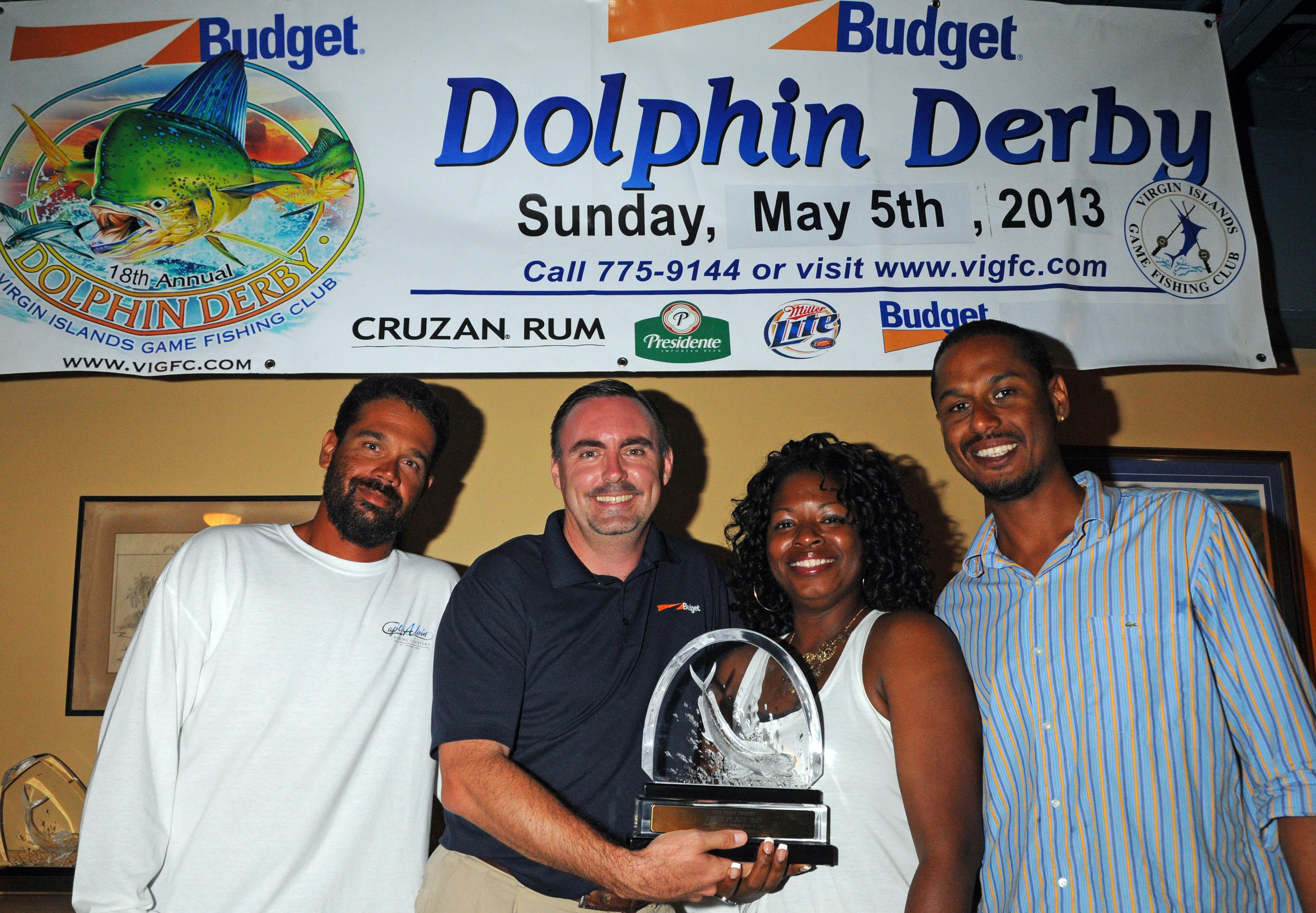 Best Boat, Emanuel. L to R: Capt. Alvin Turbe, Kevin Lambert of Budget Car & Truck Rental, Tamika Turbe, Gilbert Laban. (Credit: Dean Barnes)