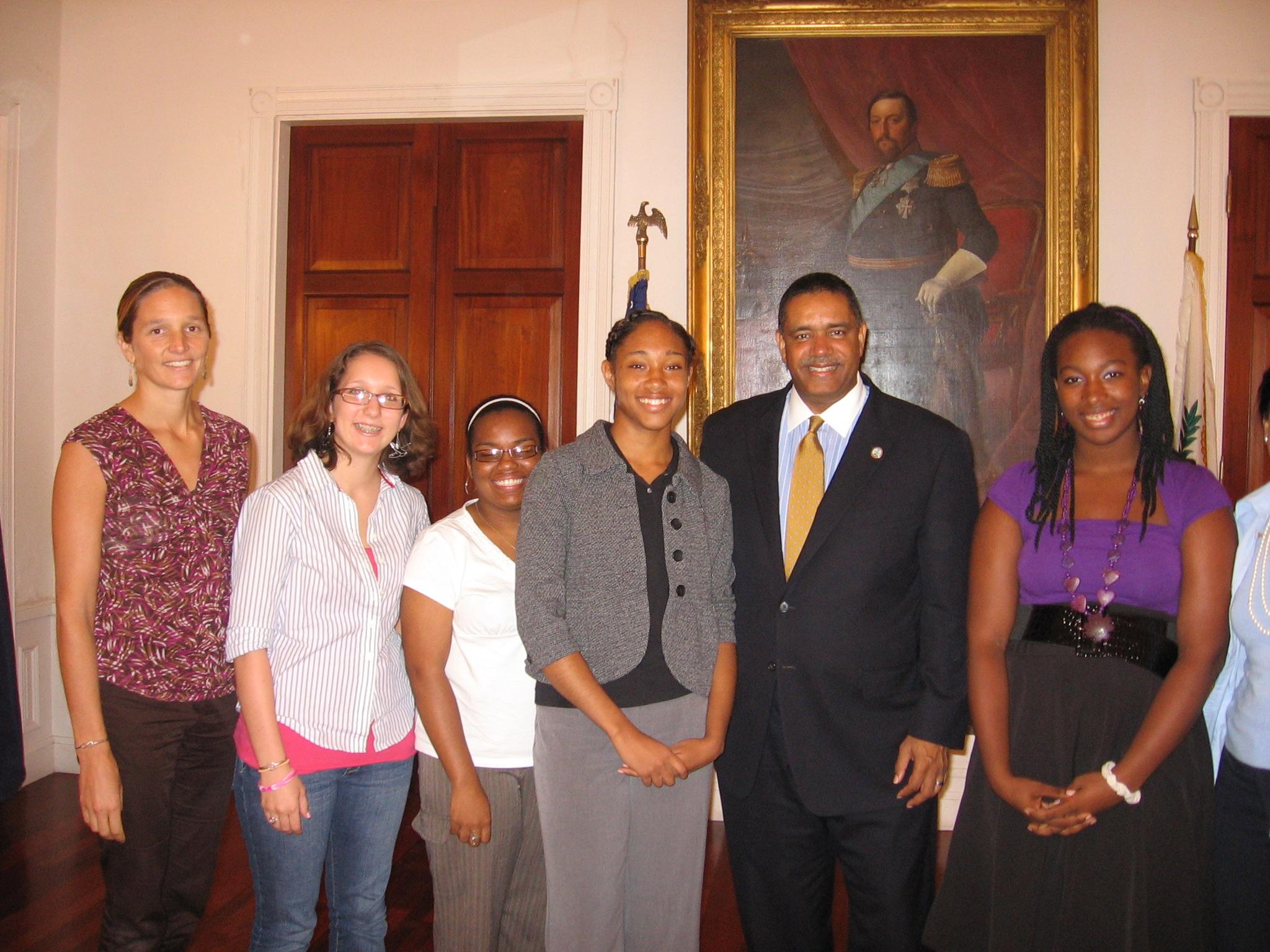 Pictured left to right – Acting Head of Upper School Leslie Hamdorf, Eliza Mongeau, Nyasia Santiago, Ashlee Douglas, Gov. deJongh and Shani Cox