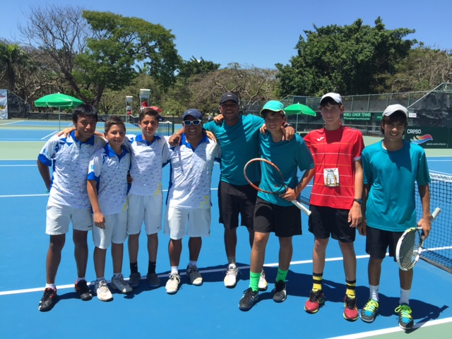 Winning team from Guatemala with V.I. team Coach Kevin Motta, Russell Armstrong, Alec Kuipers and Nayan Bansal