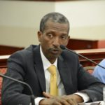Gustav James at Senate committee hearing in February. (Photo provided by the V.I. Legislature).