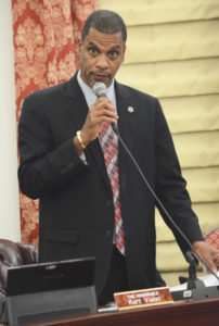 Sen. Kurt Vialet speaks in favor of new revenue generating measures during Tuesday's session. (Photo by Barry Leerdam, provided by the V.I. Legislature)