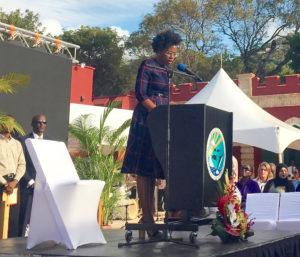 DPNR commissioner Dawn Henry thanks her staff for their efforts to complete the project as she addresses attendees at the reopening of Fort Christian.