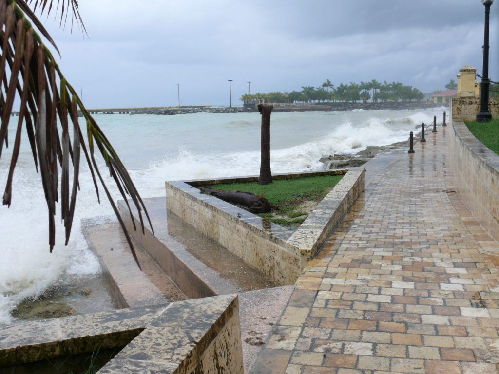 Waves batter the Frederiksted seawall during a 2010 tropical storm. (Source file photo)