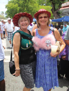 From left, Linda Lawrence and Susan Johnson wear bras that were on sale to raise funds for Cancer Support VI.