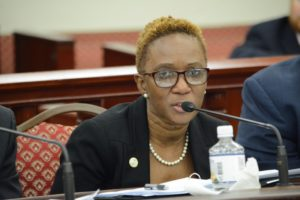 Human Services Commissioner Felecia Blyden reported in March that DHS had found funds to keep the Home at Last program going. (Photo by Barry Leerdam, provided by the V.I. Legislature)