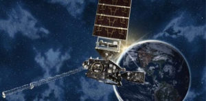 NOAA's news satellite, GOES-16, will be watching hurricanes this year. (NASA artist's rendering.)