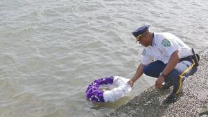 During Monday's event marking National Police Week, St. Thomas-St. John District Police Chief Jason Marsh lays a wreath in honor of officers killed in the line of duty.