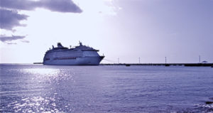 A cruise ship visits the Fredericksted pier on St. Croix. (John Baur photo)
