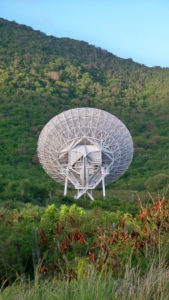The radio telescope on St. Croix is the easternmost point of the Very Long Baseline Array system, 10 dishes stretching from St. Croix to Hawaii.
