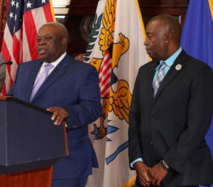 Gov. Kenneth Mapp and Lieutenant Governor Osbert Potter speak to a series of issues Monday.