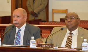 George Dudley and Marvin Pickering testify in favor of hotel development bills Monday at the Senate hearing on St. Thomas.