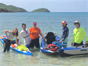 The team gets ready to kayak out to the remote parts of a Hurricane Hole. From left, Shelby Massucci, Matt Carrigan, Kristen Whalen, Dylan Vega, Jerry Johnston. (Amy Roberts photo)