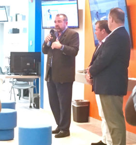 Viya executive Alvaro Pilar addresses the company's first 'Tech Talk.' (Marina Ricci photo)
