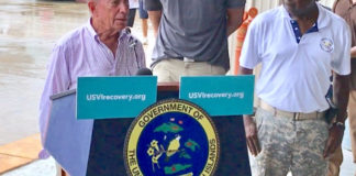 Former New York Mayor Michael Bloomberg addresses hurricane recovery. With him, from left, are Gov. Kenneth Mapp, St Croix native and NBA star Tim Duncan, and Lt. Gov. Osbert Potter.