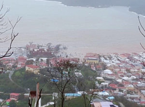 Floodwaters from Hurricane Maria inundate the Charlotte Amalie waterfront on Sept. 20, the day after Hurricane Maria hit the territory. (Photo by Danie Berry)