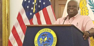 Gov. Kenneth Mapp addresses the media Wednesday at Government House on St. Croix. (Jamie Leonard photo)