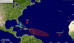National Hurricane Center five day forecast of tropical disturbance's likely path as of 2 p.m. Friday (Image courtesy of the National Hurricane Center)