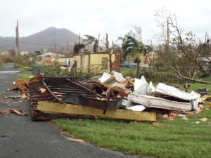 Debris in Estate Castle Burke on St. Croix on Sept. 21 (V.I. National Guard photo)