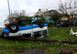 A truck is upended on St. Thomas. (Adrien Austin photo)