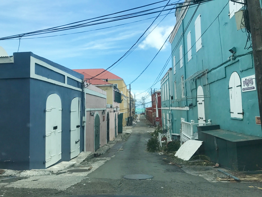 In downtown Charlottte Amalie, many of the back streets ere already cleaned. (James Gardner photo)