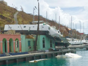 Hurricane Irma's force threw this catamaran on top of a dockside building. (Love City Strong photo)