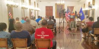 Gov. Kenneth Mapp updates the news media Friday on progress in the territory's hurricane recovery. (Jamie Leonard photo)