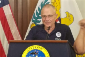 Federal Coordinating Officer of FEMA Region II Bill Vogel speaks at Friday's news conference. (Jamie Leonard photo)