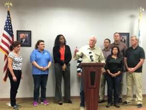 House Democratic Whip Steny Hoyer shares insights from his tour of the hurricane damage on St. Croix, surrounded by, from left, Elaine Duke Jenniffer Gonzalez, Stacey Plaskett, Anthony Brown, Norma Torres, Jeff Denham and House Majority Leader Kevin McCarthy.