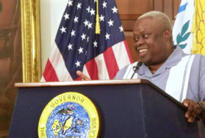 Gov. Kenneth Mapp gives his hurricane recovery update Monday at Government House on St. Croix. (Jamie Leonard photo)