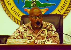 Senate President Myron Jackson (D-STT) speaks at Friday's Committee of the Whole hearing. (V.I. Legislature photo by Barry Leerdam)