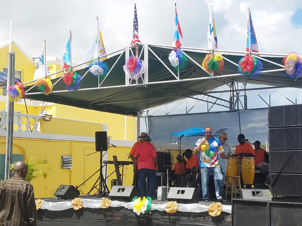 PR VI Friendship Committee President Emerito Torres Jr. welcomes people to the condensed V.I.-Puerto Rico Friendship Day festivities. (Jamie Leonard photo)