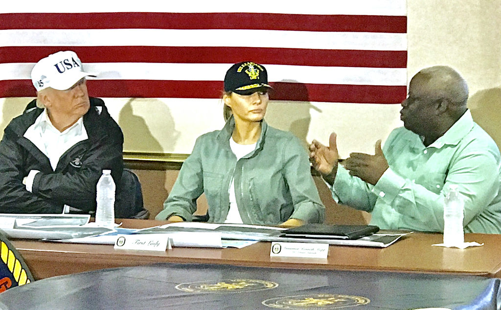Gov. Kenneth Mapp visits with President Donald J. Trump and Melania Trump on amphibious assault ship USS Kearsarge (Government House photo by Diego Conde)