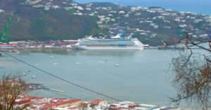 Royal Caribbean's Adventure of the Seas ties up at Charlotte Amalie, wh3re it took on about 560 passengers, part of a contingent of 1,400 evacuated Oct. 1 from the territory. (SAP photo)