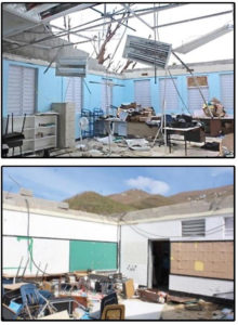 Slides presented during Wednesday's Senate hearing show damage to schools on the territory. These two were images from Gladys Abraham Elementary School.