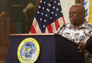 Mapp speaks Friday at his Government House news conference. (Jamie Leonard photo)