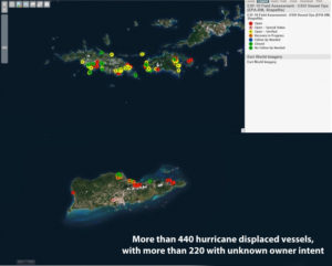 An image from the National Oceanic and Atmospheric Agency maintained Environmental Response Management Application database shows individual dots for all displaced vessels in the U.S. Virgin Islands as of Nov. 28. (NOAA image)