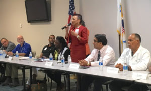 JFL's CEO Wanda Ruben addresses a town hall meeting Nov, 3. (Marina Leonard photo)
