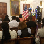 Gov. Kenneth Mapp provides an update of the territory's hurricane recovery during his Friday news conference. (Jamie Leonard photo)