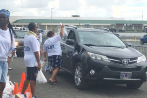 Volunteer hands batteries through the window of a car Saturday at the Sunshine Mall parking lot event..