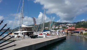 Luxury boats line the pier at the Charter Yacht Show in Charlotte Amalie.