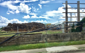 A big debris piles near Addelita Cancryn Junior High School on St. Thomas.