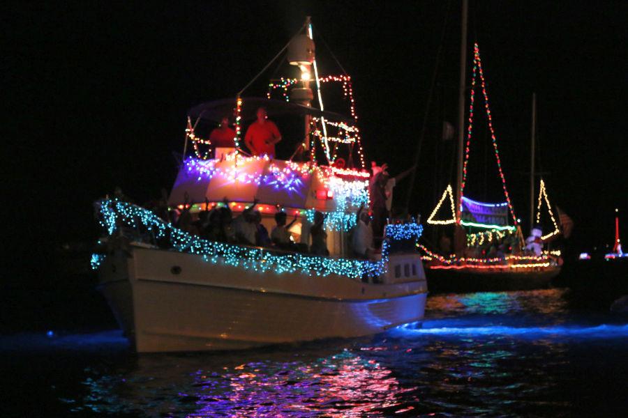 Parade boats lit up the Charlotte Amalie Harbor Friday night.