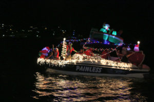 Paradigm Shift motors to third place in the annual Lighted Boat Parade.