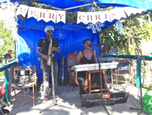 Dennison Blackett and Tavonna Miller entertain the crowd at Bizarre Bazaar.