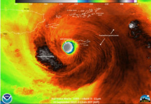 An infrared photo from NOAA shows Hurricane Maria off just off Sandy Point.
